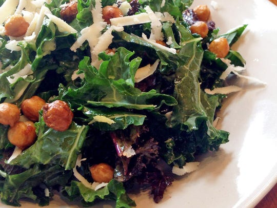Kale salad gets added crunch and protein from oven-roasted