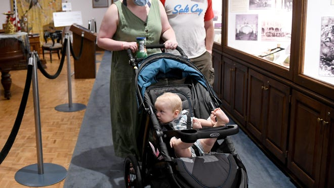 Deacon Jett visits the reopened  McKinley Presidential Library & Museum on Tuesday with his mother, Hannah Freshour, and grandfather, Bob Freshour, of Canton Township.