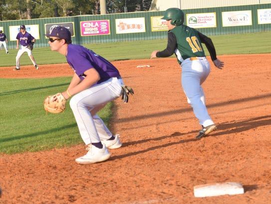 Holy Savior Menard first baseman Bailey Crowe (10)