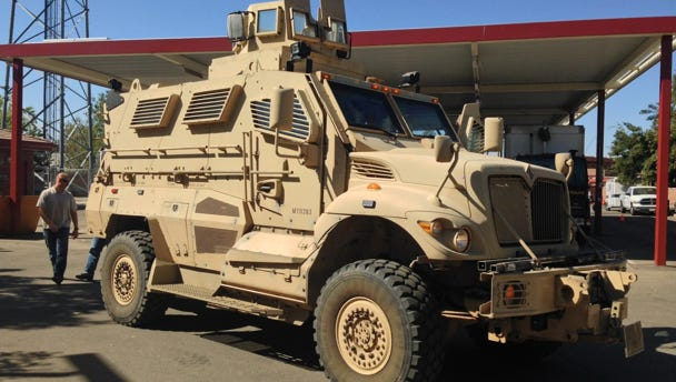 A mine-resistant ambush protected vehicle equipped with a turret. The Abderdeen Police Department posted a photo as an example of what the department's vehicle will look like after affixing the turret. The upgrade will be purchased using money from the state's drug control fund.