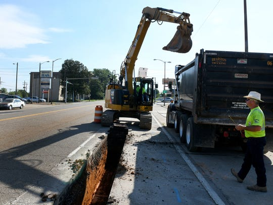 Brabston Trucking pipeline division has begun preliminary work replacing water lines along both sides of Magnolia Avenue.