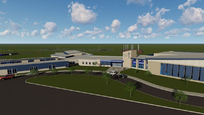 A wide, whole view of an artist's rendering of the new Sioux Falls Lutheran School campus.