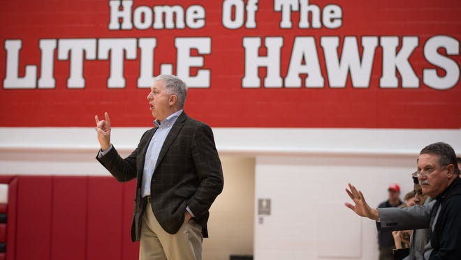 City High head coach Don Showalter directs the Little Hawks in the second quarter at City High School in Iowa City Feb. 26, 2016.