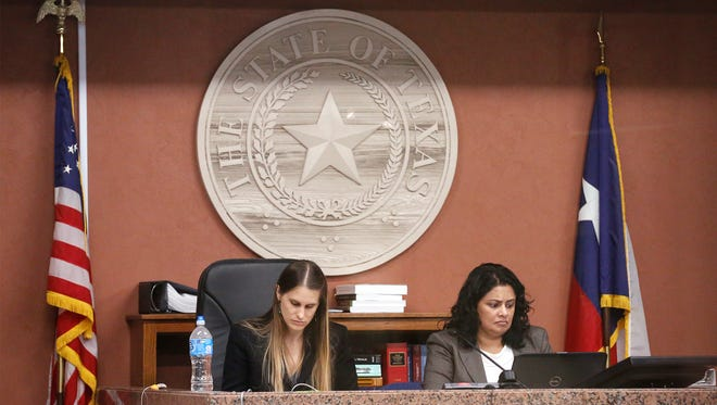 Texas Education Agency judges preside recently over the hearing of the three former Bowie High School administrators.