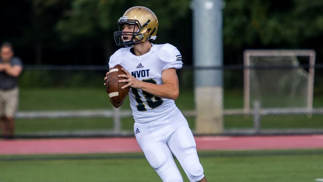 NV/Old Tappan quarterback Nick McNerney completed 15 of 19 passes for 265 yards and two touchdowns in the Golden Knights' win over Northern Highlands.