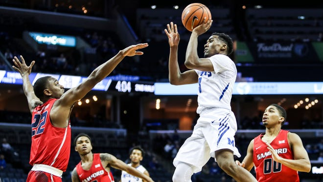 December 05, 2017 - Memphis' Jeremiah Martin goes up for a shot during Tuesday night's game versus the Samford Bulldogs at the FedExForum.