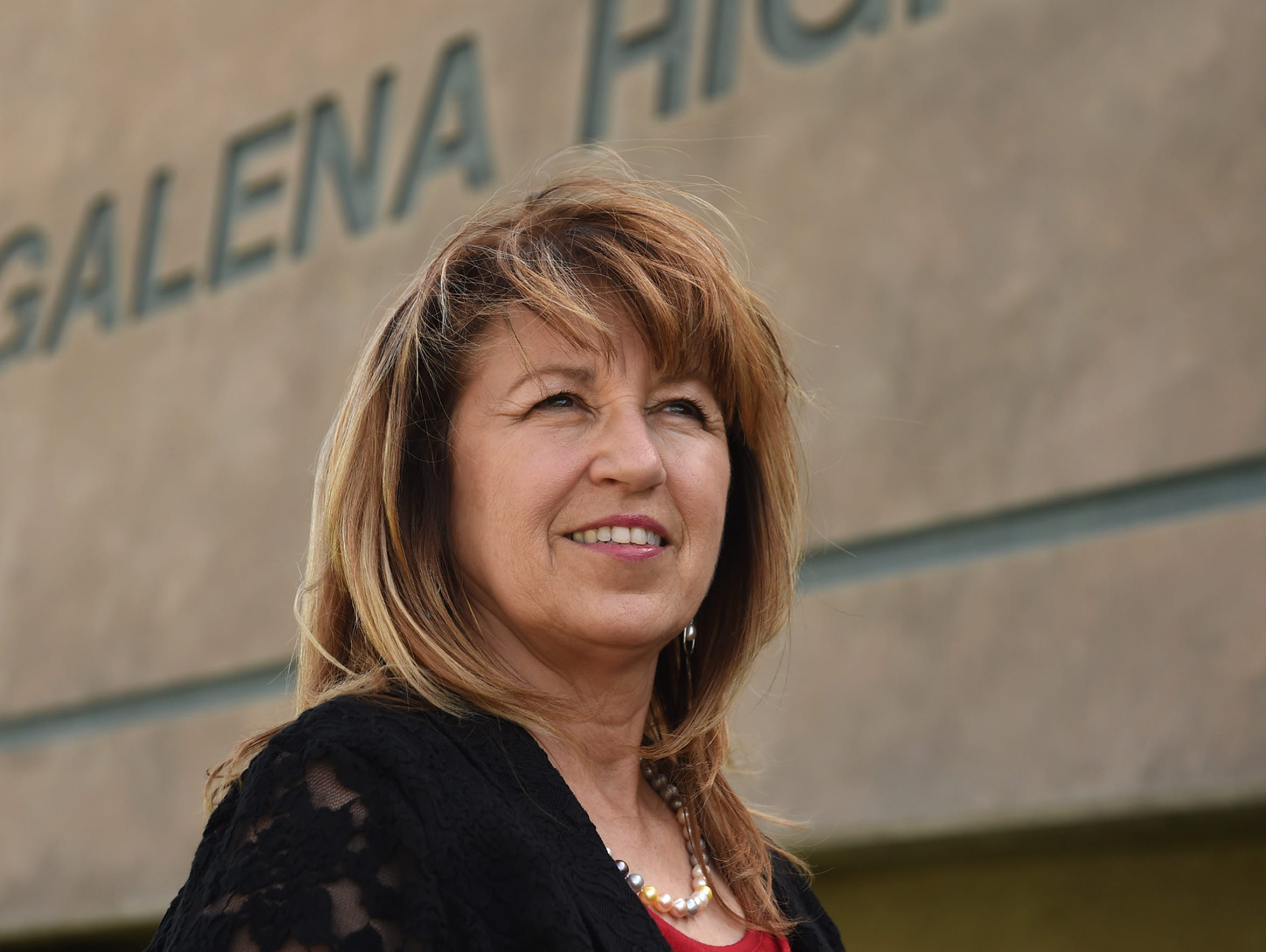 Susan Zeiter stands outside Galena High School on April