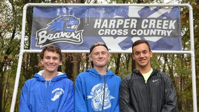 Harper Creek seniors (L-R) Tommy Shaw, Devon Funk and Drew VanWagner.