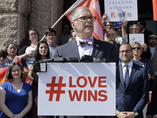 Jim Obergefell speaks at a rally in Texas three days