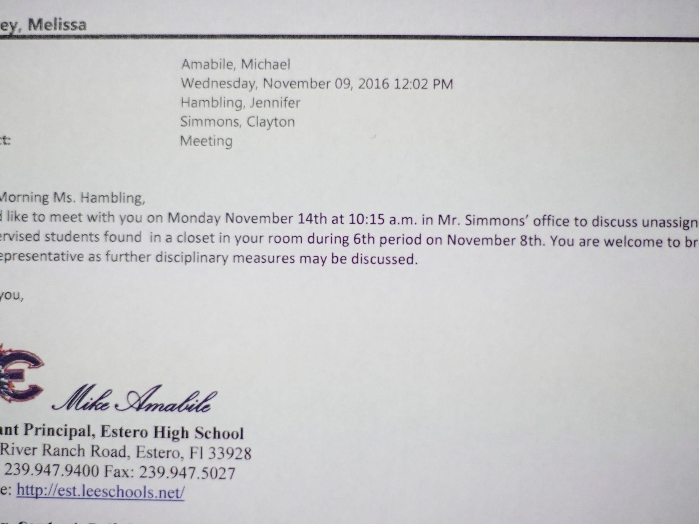 Estero High School's assistant principal requests a