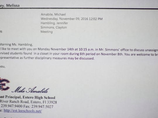Estero High School's assistant principal requests a meeting with former art teacher Jennifer Hambling after two students are found unsupervised in her classroom closet during a safety inspection in November, 2016.