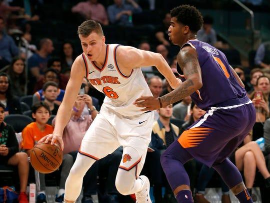 New York Knicks forward Kristaps Porzingis (6) drives