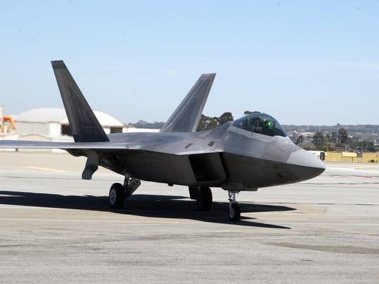 F-22 Raptor taxies on the runway at Monterey Regional Airport, Sept. 26, 2017