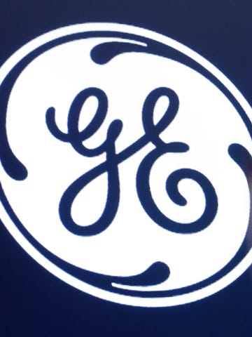 The General Electric logo appears above a trading post