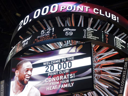 The scoreboard displays 20,000 career points scored by Miami Heat guard Dwyane Wade during the second half of an NBA basketball gam against the Cleveland Cavaliers, Saturday, March 19, 2016, in Miami. (AP Photo/Lynne Sladky)