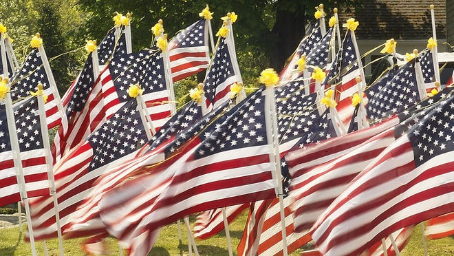 A display of American flags  to mark Memorial Day in Cohasset.