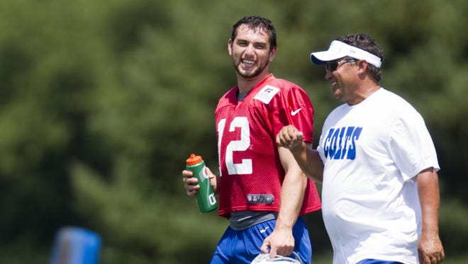 Andrew Luck (left), and quarterbacks coach Clyde Christensen walk during the afternoon practice session of Colts Camp, Anderson University, Wednesday, August 15, 2012. Robert Scheer/The Star