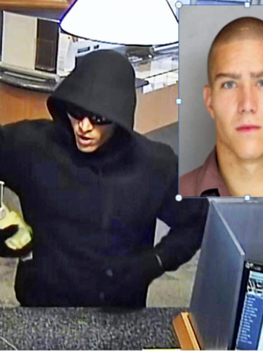 This security camera image shows a man, who police identify as 24-year-old Earl Frankin Miller of Lebanon, robbing the Susquehanna Bank in Ephrata on Sept. 30. Miller was arrested Tuesday by borough police.