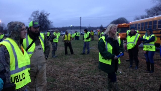 More than 100 volunteers gathered before 7 a.m. Friday to help in the search for Noah Chamberlin.