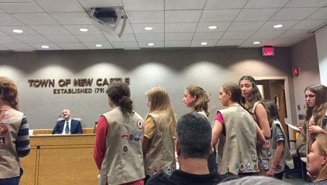 Members of the Girls Scouts address the New Castle Town Board