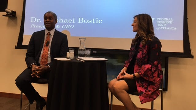 Federal Reserve Bank of Atlanta President Raphael Bostic and Laurel Graefe, Nashville branch deputy regional executive