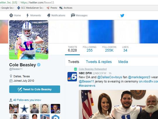 Even Dallas Cowboys wide receiver Cole Beasley noticed Mark Gonzalez's swearing in attire.