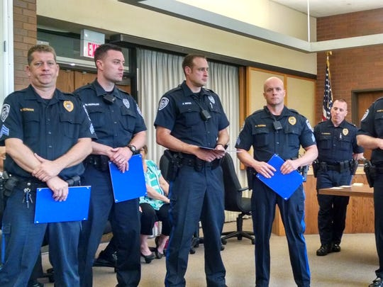 Sgt. Kenneth Herman, Officer William Merkler, Officer John Niper and Sgt. Michael Kuchma were among those to receive the Community Service Award at the South Brunswick police department's awards luncheon.