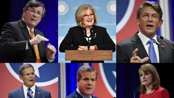 The top-tier candidates for Tennessee governor are, clockwise from the top: House Minority Leader Craig Fitzhugh, U.S. Rep. Diane Black, Knoxville entrepreneur Randy Boyd, House Speaker Beth Harwell, former Nashville Mayor Karl Dean and Williamson County businessman Bill Lee.