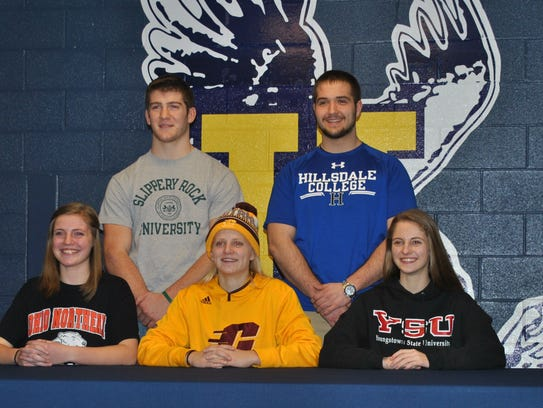 Five Hartland athletes signed with colleges on Wednesday.