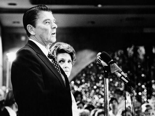 Former governor of California, Ronald Reagan with his