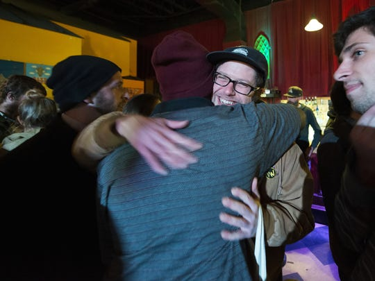 Friends of Nick Mavodones greeted him at his surprise