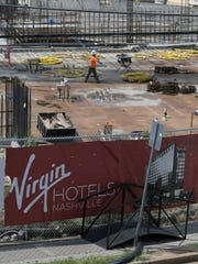 A view of the Virgin Hotel under construction at Music
