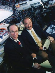 Mike Emrick (left) is pictured before calling the 1996 Stanley Cup Final with John Davidson. Emrick, a St. Clair resident, has called 14 Stanley Cup Finals, and was recently named the winner of the Vin Scully Award for lifetime achievement in sports broadcasting.