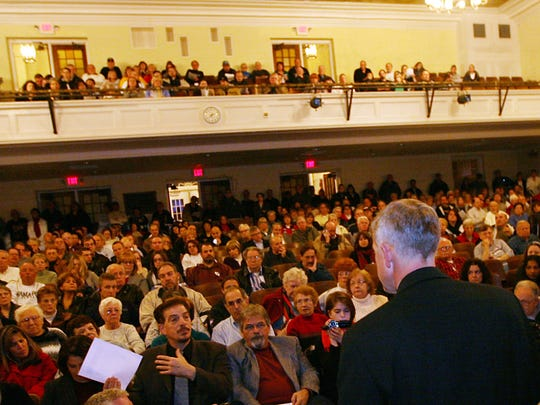A packed town meeting at Pompton Lakes High School to discuss a state health department report released in December of 2009  that showed elevated kidney cancer rates among women and non-Hodgkin lymphoma rates among men in a neighborhood above a plume of contaminated groundwater that had migrated off DuPont's site.