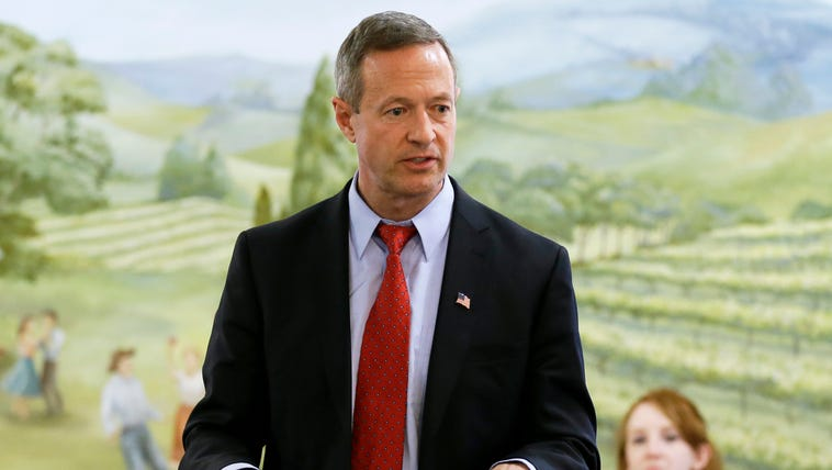 Former Maryland governor Martin O'Malley speaks in