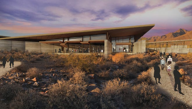 Renderings for the Desert Discovery Center, now Desert EDGE, show a smaller footprint and reduced cost.
