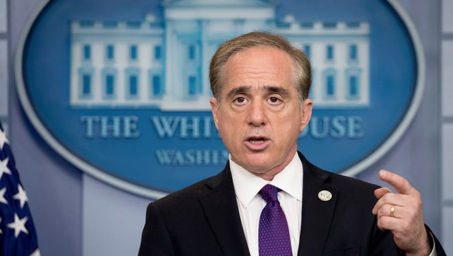 Veterans Affairs Secretary David Shulkin speaks at the daily press briefing at the White House in Washington, Monday, June 5, 2017.  Shulkin said Monday the department will be overhauling its electronic health records, adopting a commercial product used by the Pentagon that he hopes will improve care for veterans and reduce wait times for medical appointments.