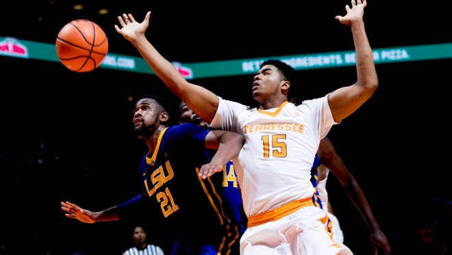 Tennessee forward Derrick Walker (15) and LSU's Aaron Epps during a game earlier this season.