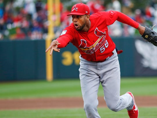 Jose Martinez tosses the ball to first during the game between the St. Louis Cardinals and the Springfield Cardinals at Hammons Field on Friday, March 31, 2017.