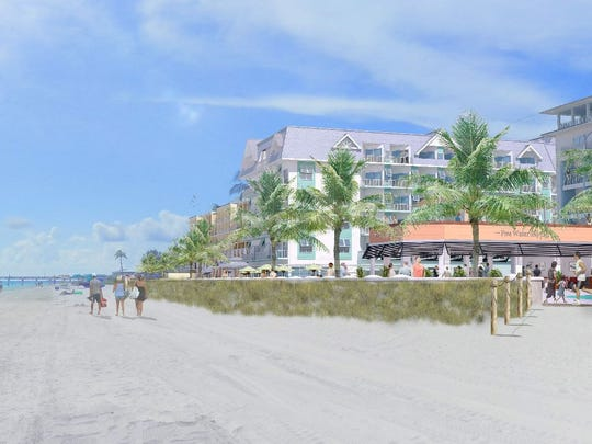 An artist rendering looking south at the proposed Grand Resort on Fort Myers Beach