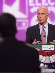 Incumbent Rep. Peter Welch, D-VT, debates at Vermont Public Television's studios in Colchester with Republican candidate for Congress Mark Donka.