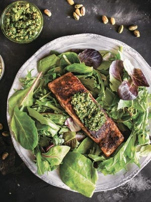 """This blackened salmon from """"30-Minute Low-Carb Dinners"""" has a pistachio pesto on top."""
