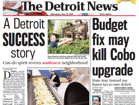 View the front page of The Detroit News each day of the week of May 21, 2007
