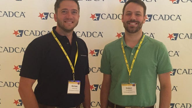 Caption: Coordinators Matthew Rudd (left) of the Cumberland County Healthy Communities Coalition and Donald Noblett of Salem-Cumberland Regional Action Toward Community Health recently attended the Community Anti-Drug Coalitions of America's 2016 Mid-Year Training Institute in Las Vegas.