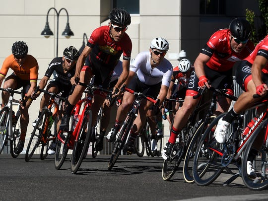 Racers make their way around the course during the 25th anniversary of the Tour de Nez bicycle race in Reno on June 10, 2017.