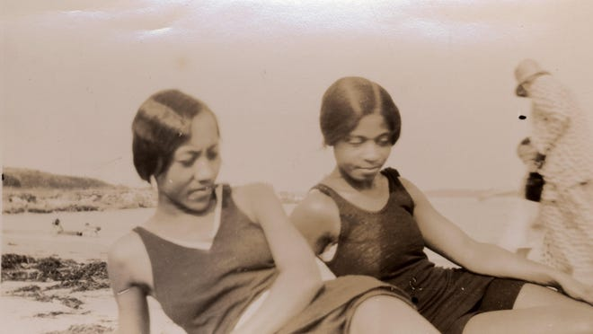 Two unidentified women on a beach in the 1930s from the collection of Elizabeth Virgil, the first African American graduate of the University of New Hampshire.