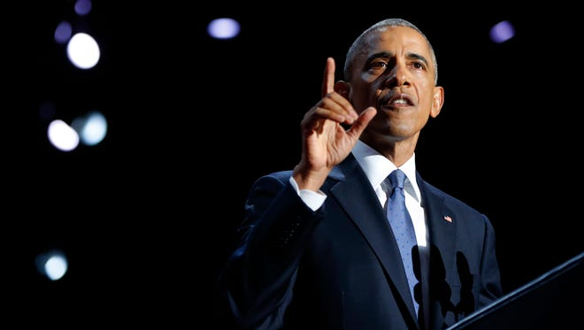 President Barack Obama speaks during his farewell address at McCormick Place in Chicago on Tuesday.