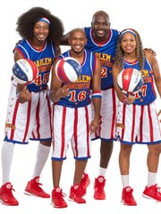 From left, Moose Weekes, Scooter Christensen, Big Easy Lofton, and Sweet J Ekworom are part of the current Harlem Globetrotters roaster