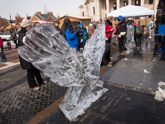 An eagle, made in ten minutes, during a speed ice carving contest that pitted seven competitors against each other in a timed event in Carmel, Sunday, Feb. 18, 2018.