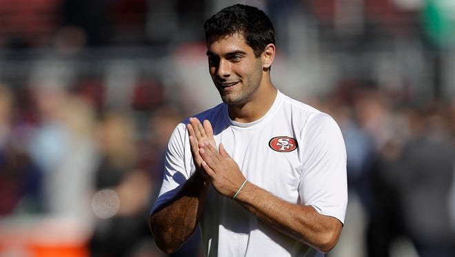 The San Francisco 49ers say they aren't going to rush quarterback Jimmy Garoppolo on to the field until he's ready.